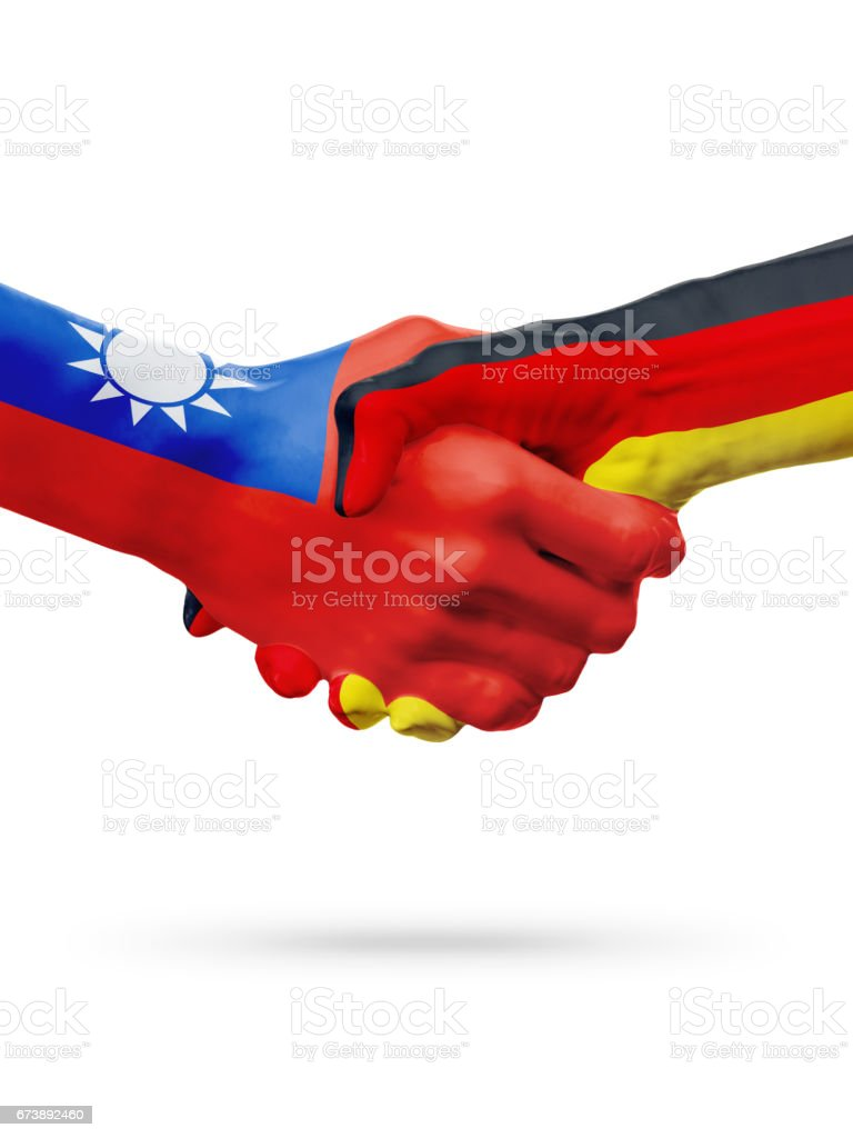 Flags Taiwan, Germany countries, partnership friendship handshake concept. foto de stock royalty-free