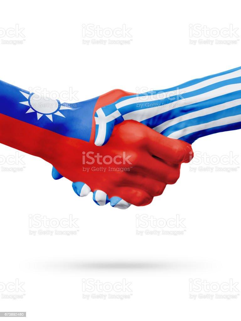 Flags Taiwan, Greece countries, partnership friendship handshake concept. foto de stock royalty-free