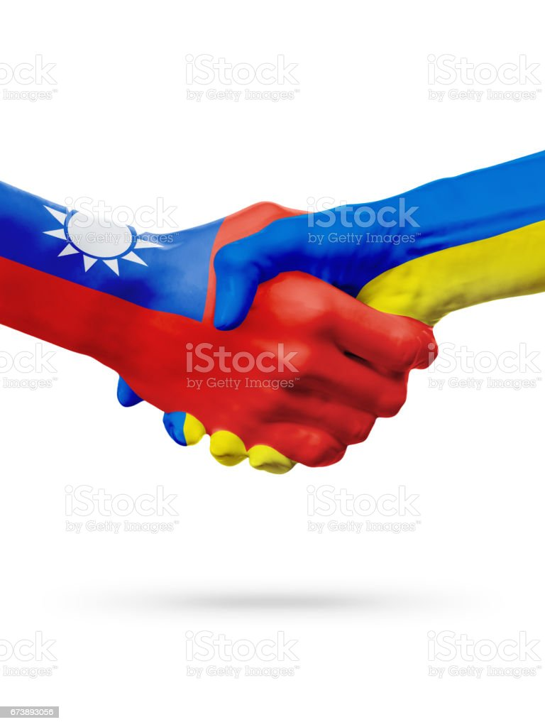 Flags Taiwan, Ukraine countries, partnership friendship handshake concept. photo libre de droits