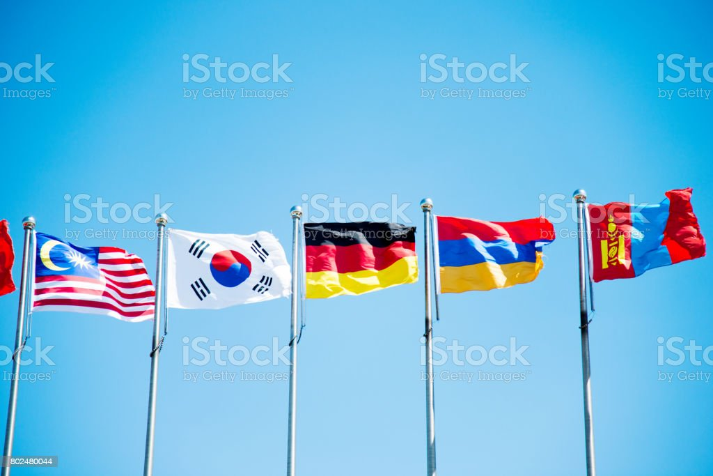 Flags under the blue sky stock photo