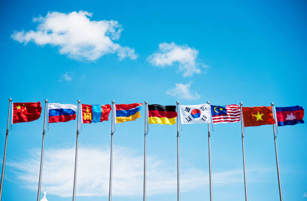 Flags under the blue sky Flags under the blue sky diplomacy stock pictures, royalty-free photos & images