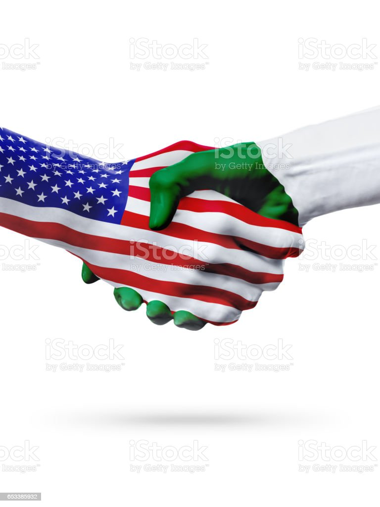 Flags United States and Algeria countries, overprinted handshake. - foto de stock