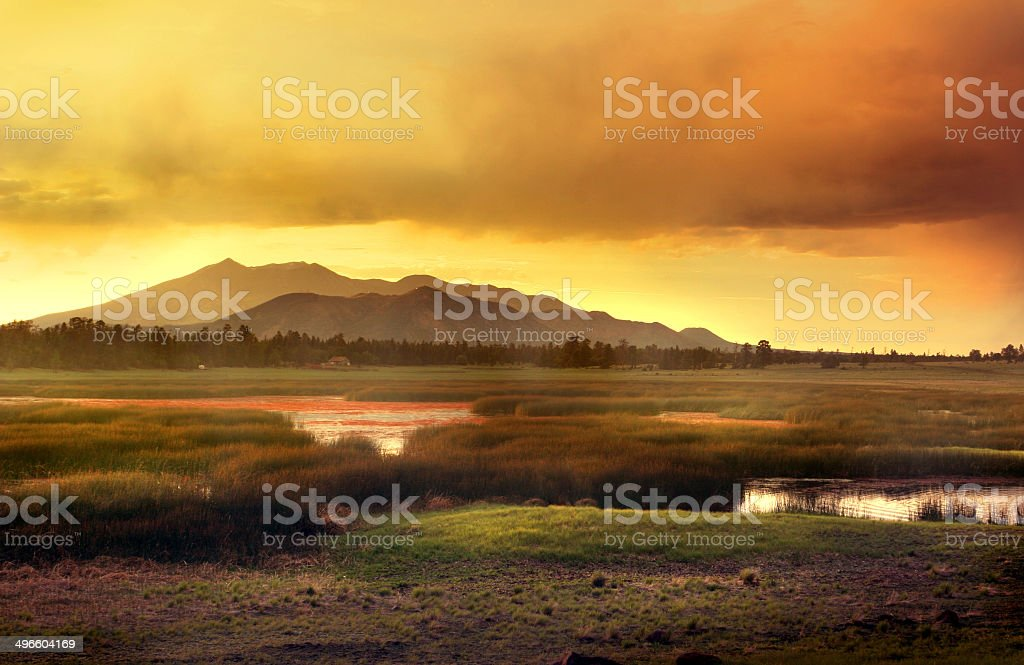 Flagstaff Arizona Mountain Sunset stock photo