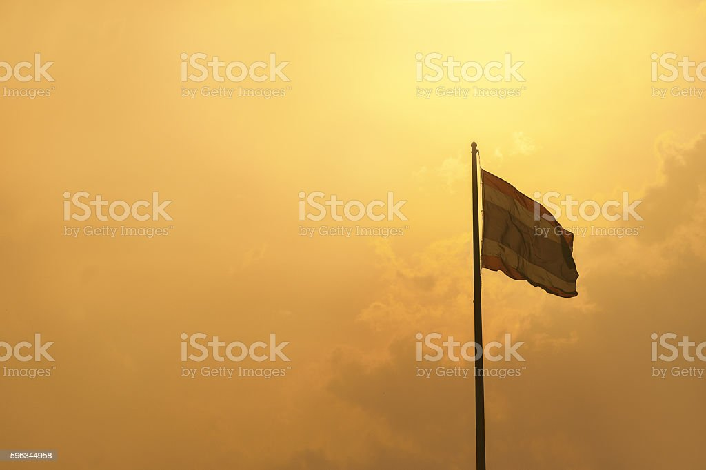 Flagstaff Thailand with gold sky royalty-free stock photo