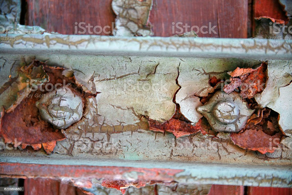 Flaking paint on a very old railway wagon side foto royalty-free