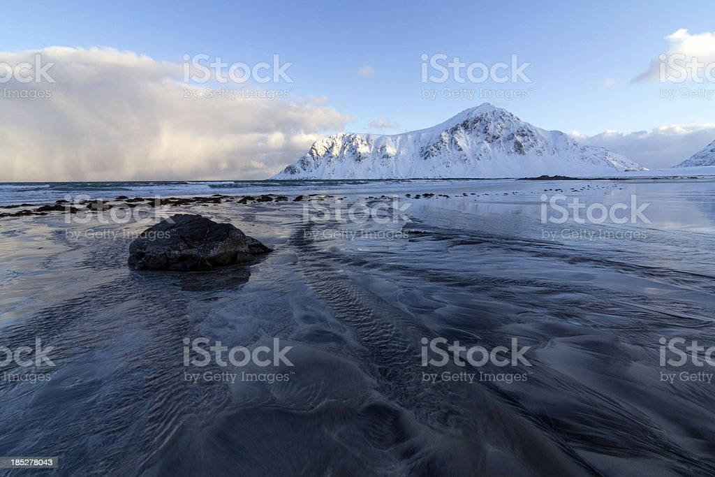 Flakstad Beach with Mountains royalty-free stock photo