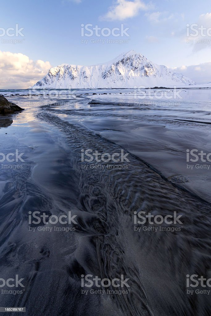 Flakstad Beach with Textured Sand royalty-free stock photo