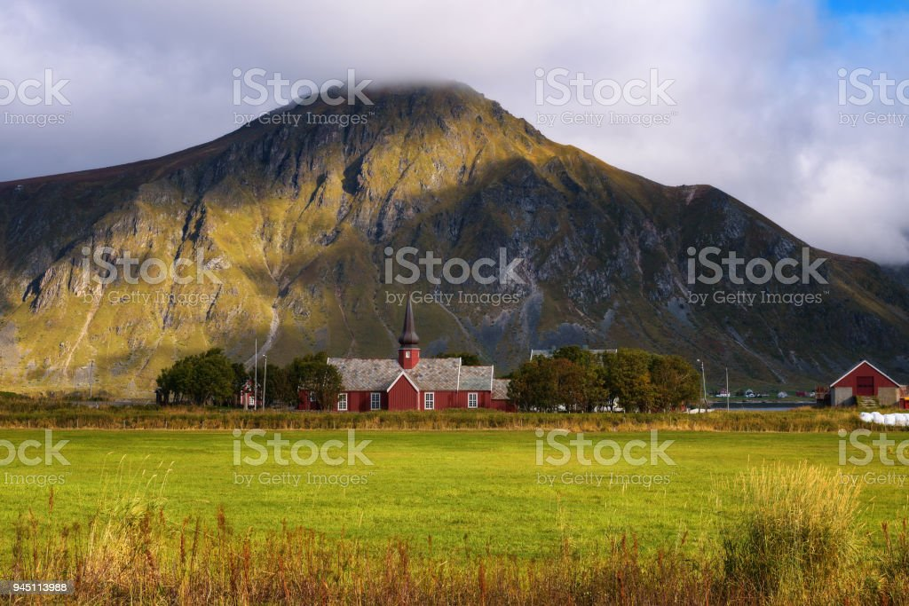 Flakstad church on Lofoten islands in Norway stock photo