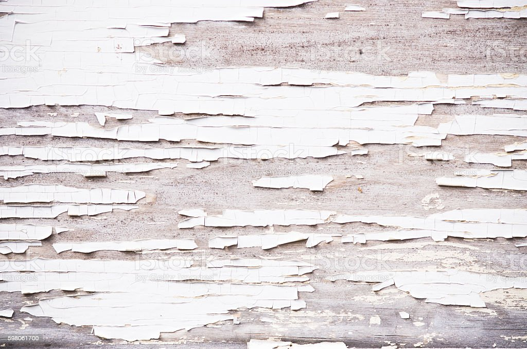 Flaky paint on the wood stock photo