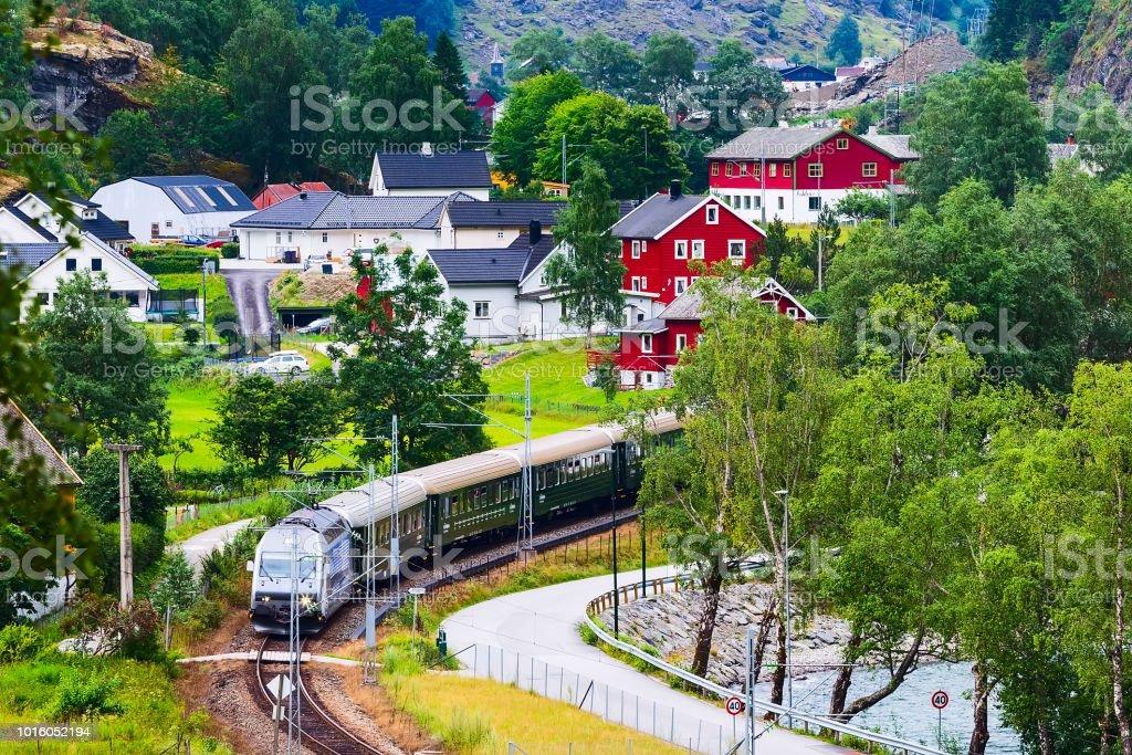 Flam, Norway train to Myrdal stock photo