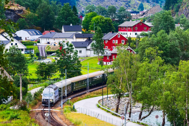 Flam, Norway train to Myrdal stock photo