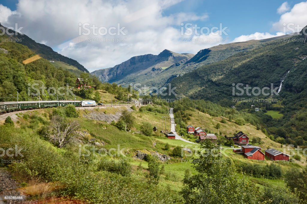 Flam railway landscape. Norwegian tourism highlight. Norway landmark. stock photo