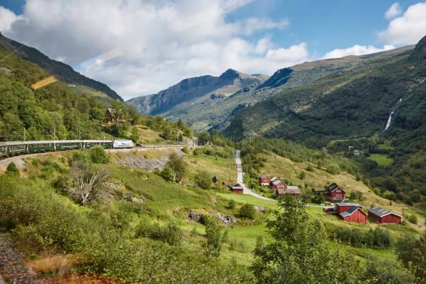 Flam Bahnlandschaft. Norwegische Tourismus-Highlight. Norwegen-Wahrzeichen. – Foto