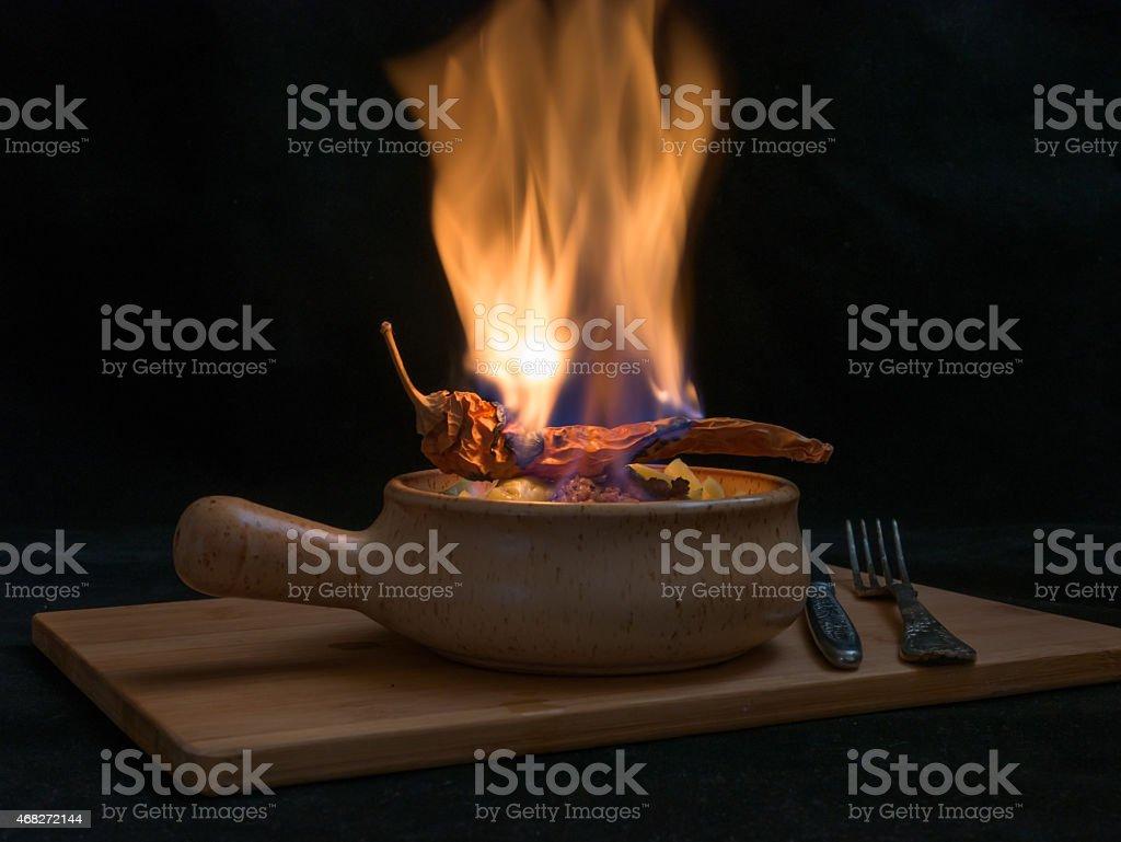 flambe meat stock photo
