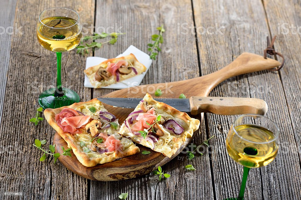 Tarte flambee from Alsace stock photo