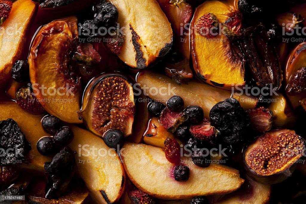 flambeed fruits stock photo
