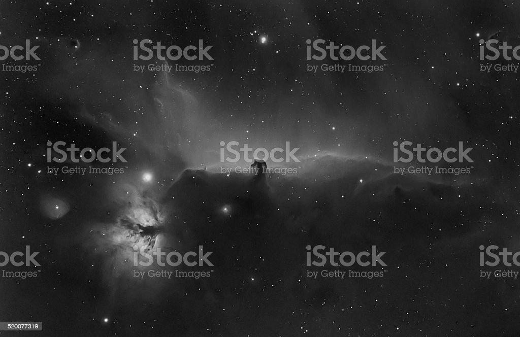 Flame and Horsehead nebula in Orion constellation stock photo