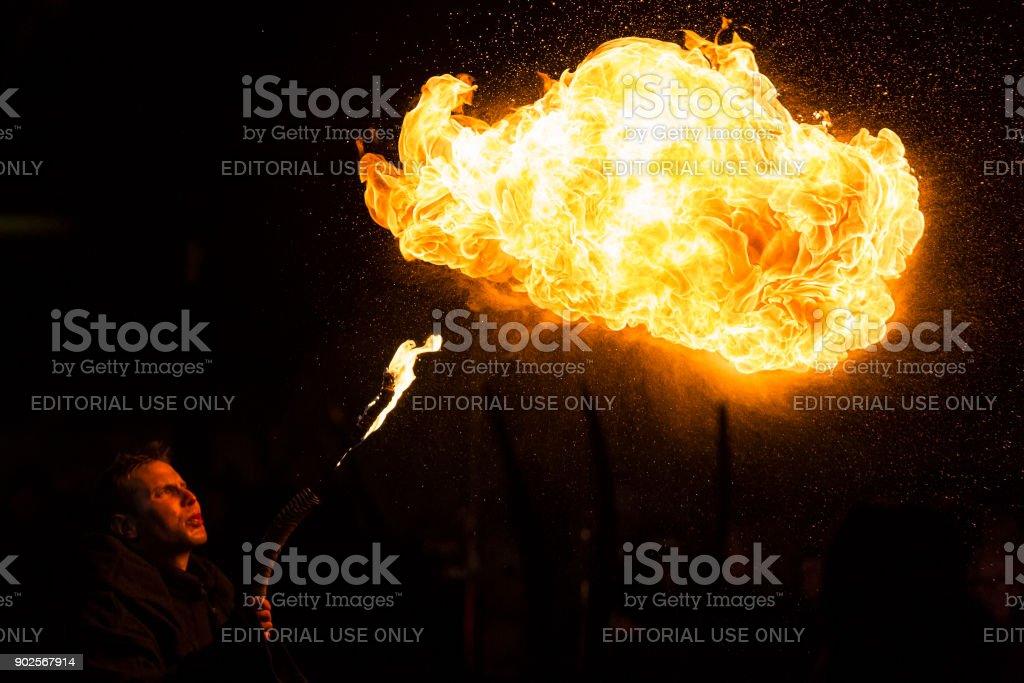 Flame blower, Krampus show stock photo