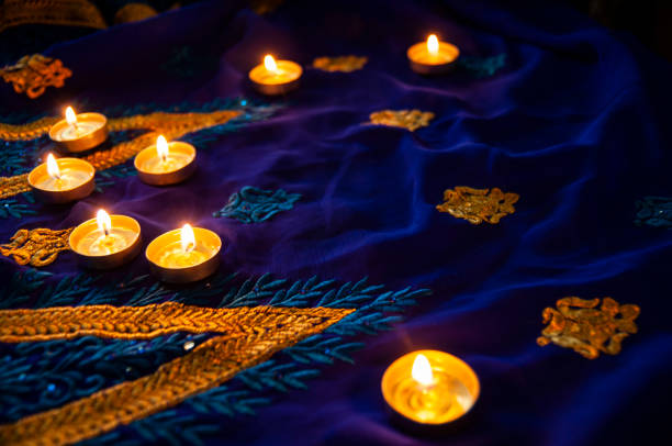 flame candle lamps for the evening prayers. diwali lighting - diwali stock pictures, royalty-free photos & images