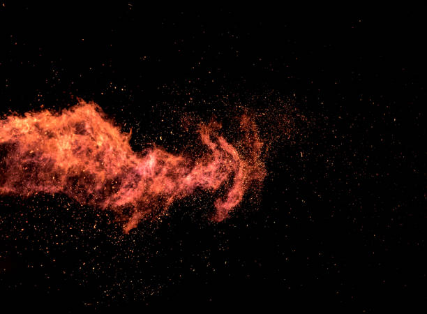 Flame explosion texture on black background. stock photo