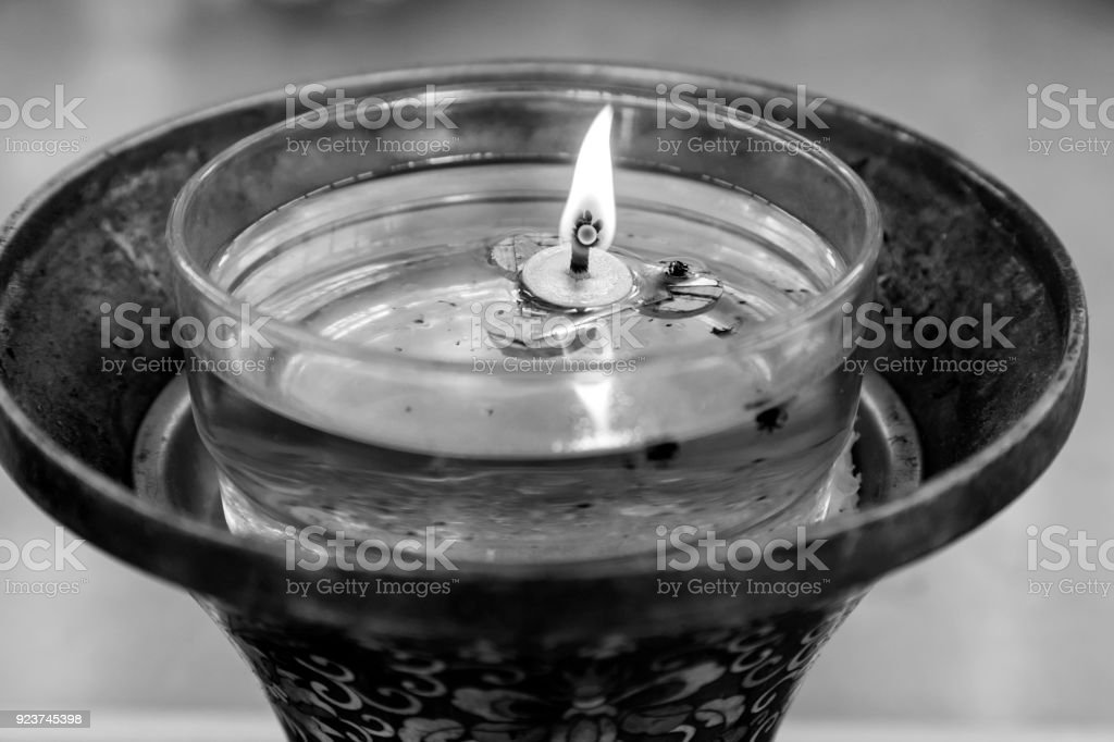 Flame from oil lamps is the symbol of Buddhism. Show respect for the Buddha stock photo