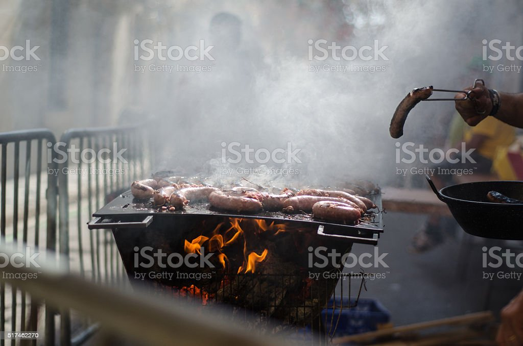 Flame grilled meat stock photo