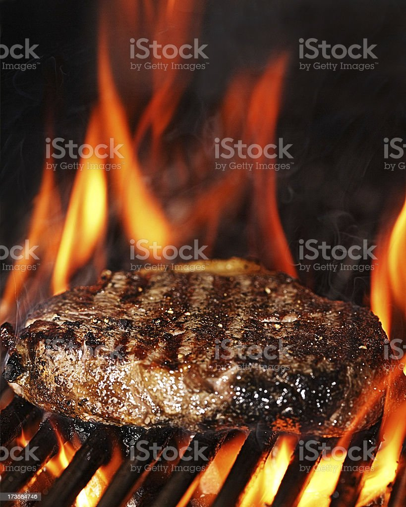 Flame grilled sirloin steak stock photo