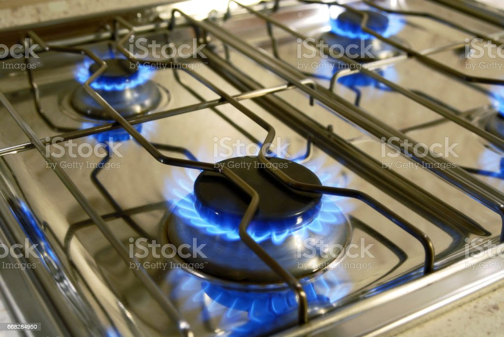Flamme eines Gasherdes stock photo