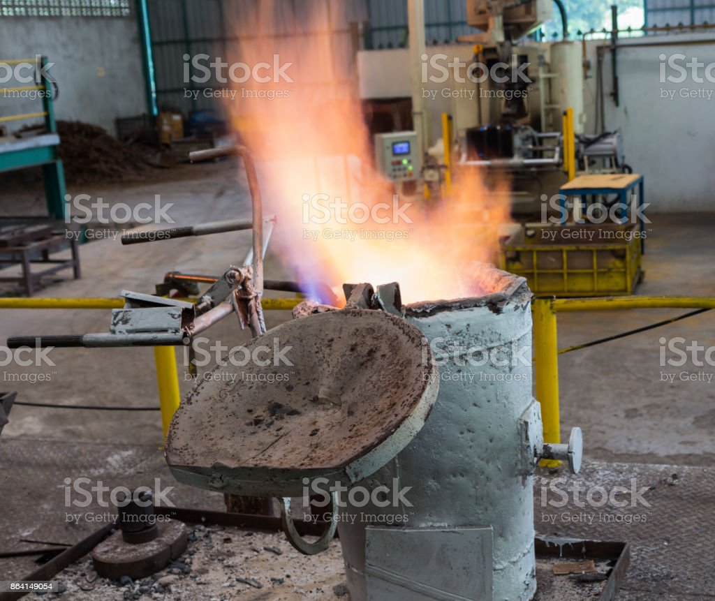 Flame of gas preheating ladle royalty-free stock photo