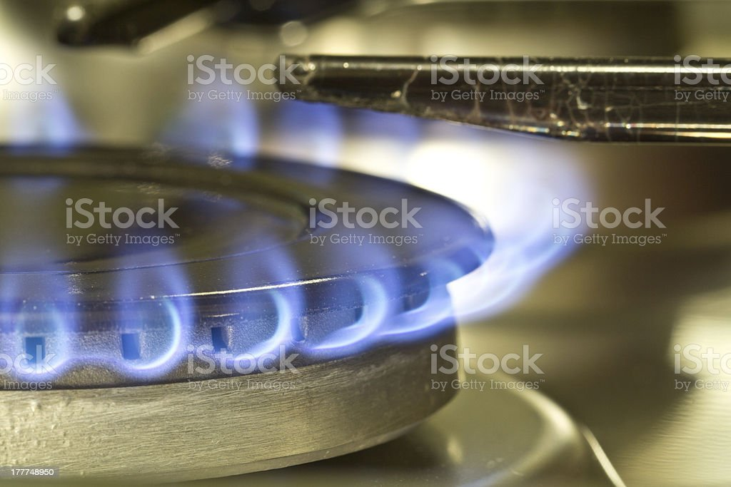 Flame of gas stove royalty-free stock photo