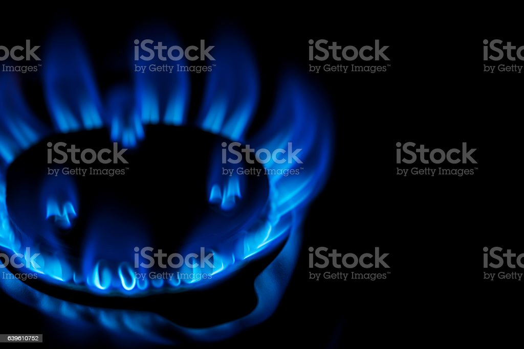 gas stove flame. Flame Of Kitchen Gas Stove Stock Photo