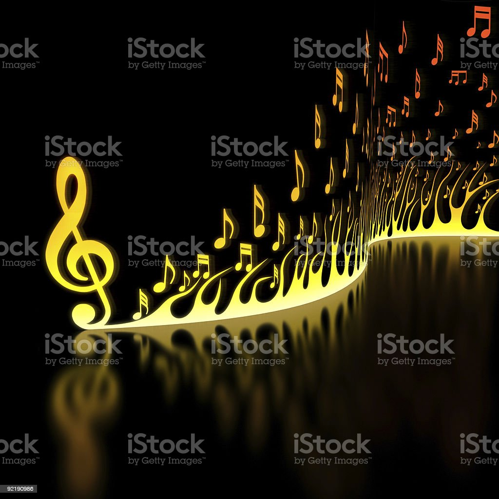 Flame of Musical Notes stock photo