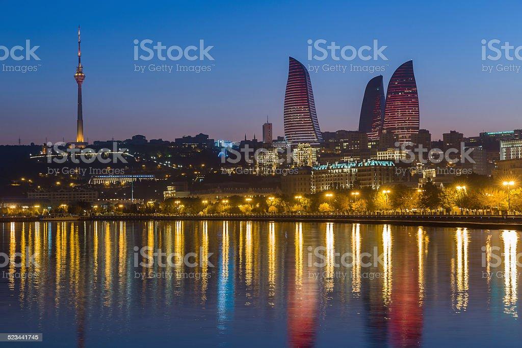 Flame Tower in Baku stock photo