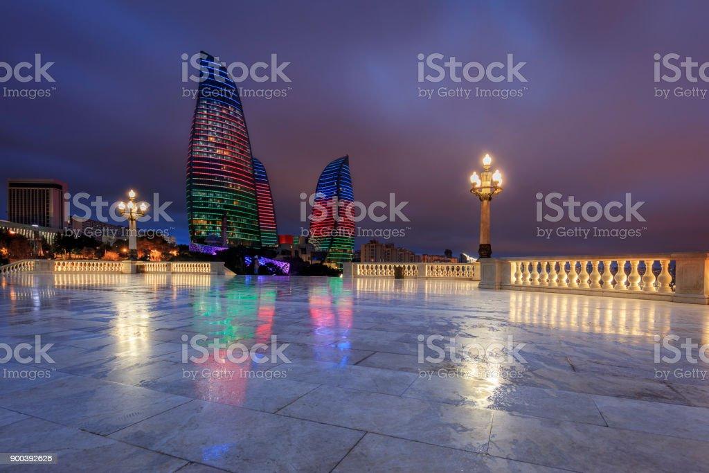 Flame Towers Baku stock photo