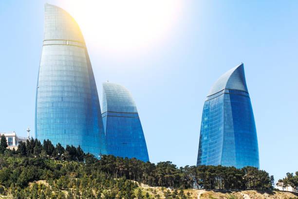 Flame towers in Baku, Azerbaijan by sunny day stock photo