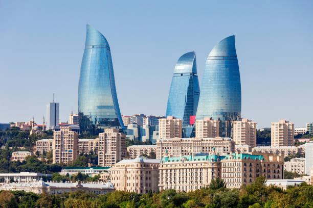 Flame Towers in Baku stock photo