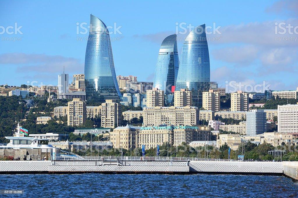 Flame Towers of Baku stock photo