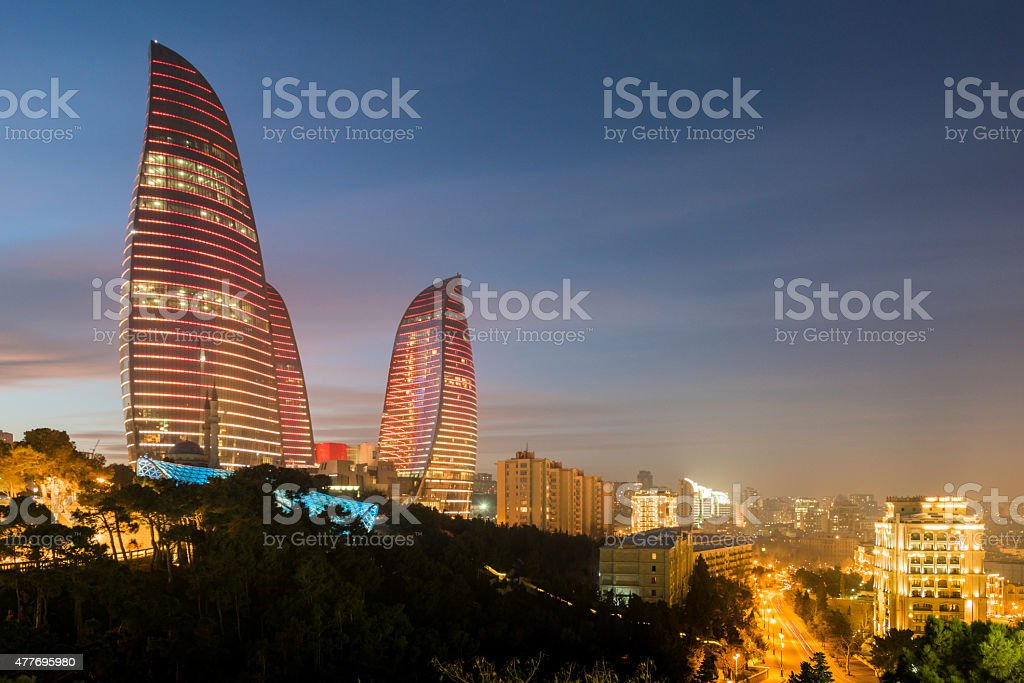 Flame Towers on February 3 in Azerbaijan stock photo