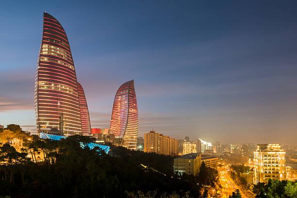 Flame Towers on February 3 in Azerbaijan stock photo