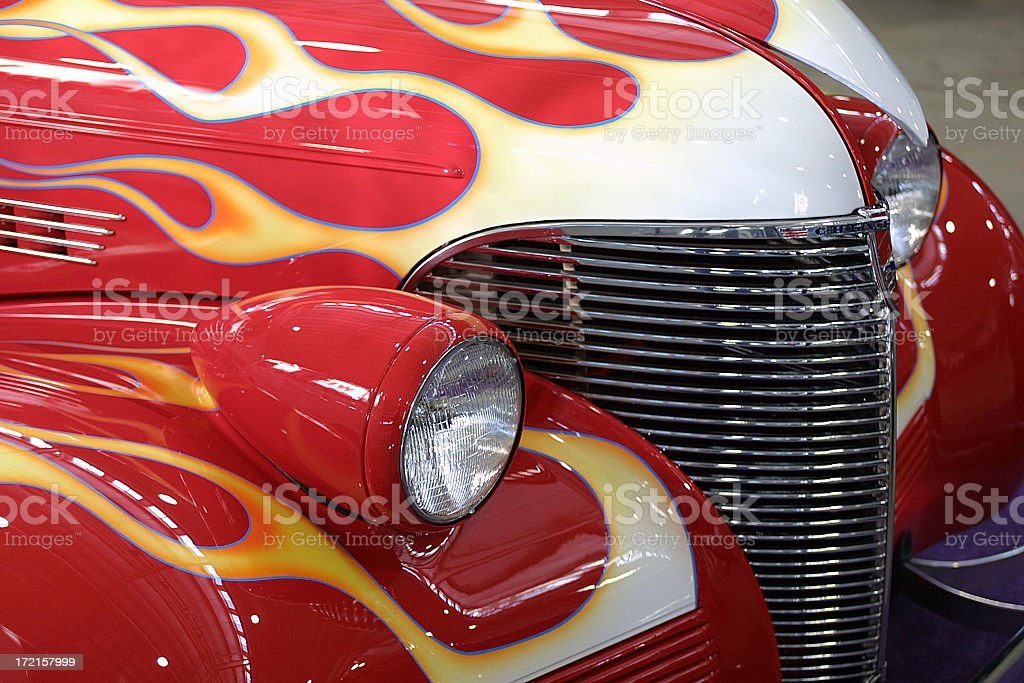 Flamed Chevrolet Coupe front end stock photo