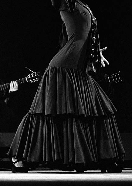 Flamenco dancer and guitars stock photo