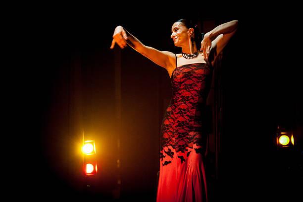 Flamenco dancer in red stock photo