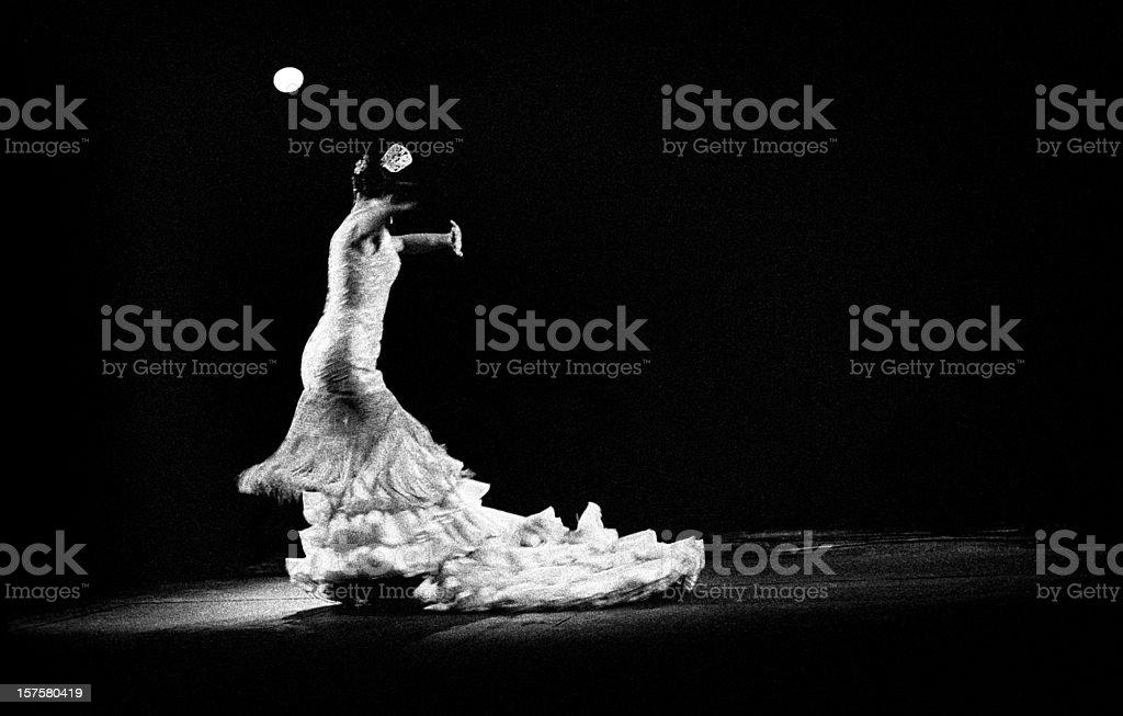 Flamenco dancer in white royalty-free stock photo
