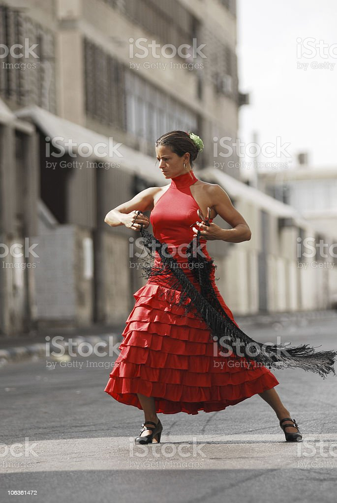 Flamenco dancer with scarf royalty-free stock photo