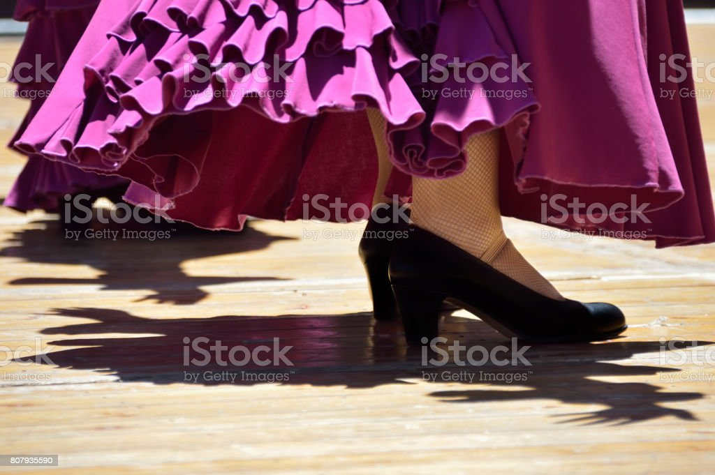 Cropped action shot of flamenco dancers legs