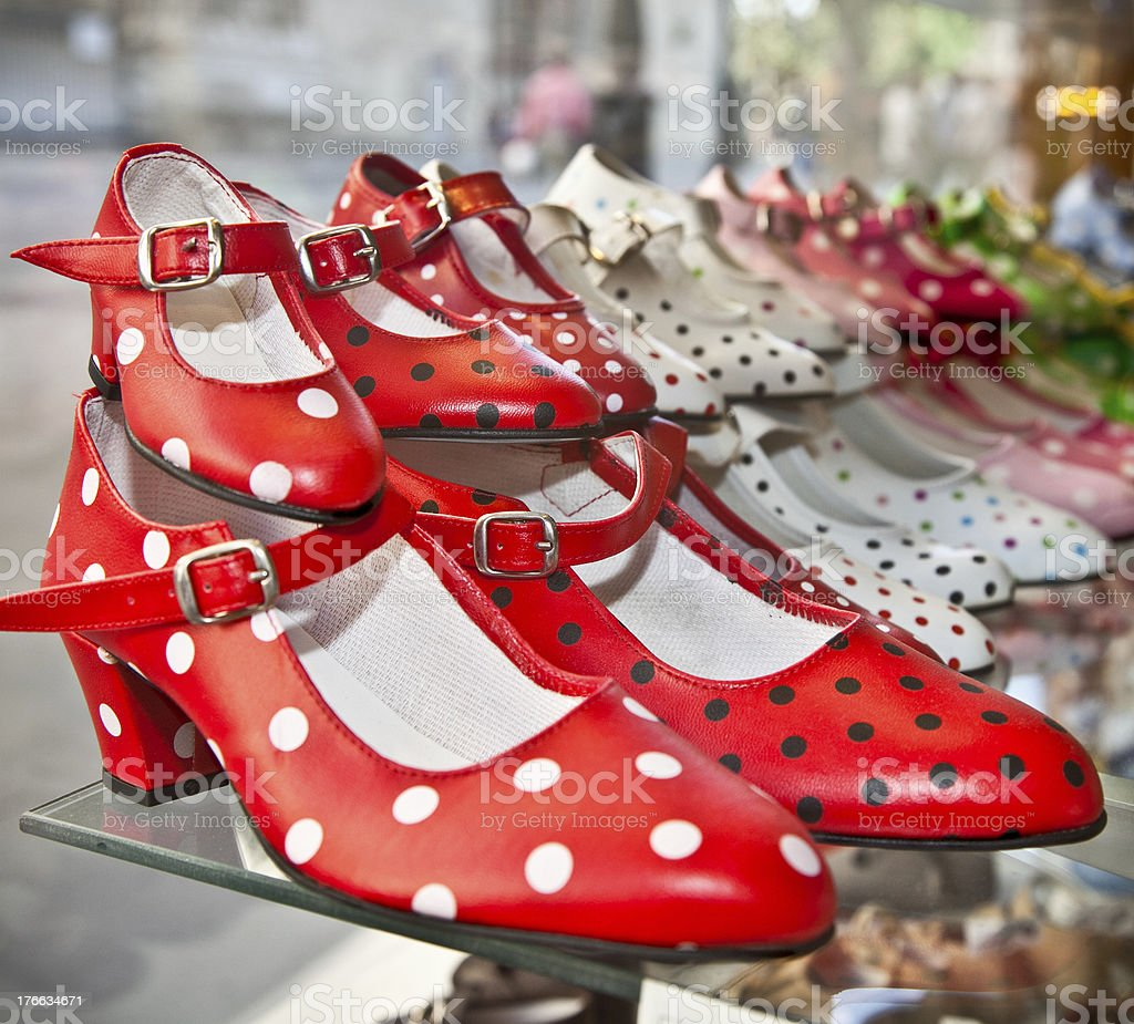 Flamenco dancing shoes with polka dot spots royalty-free stock photo