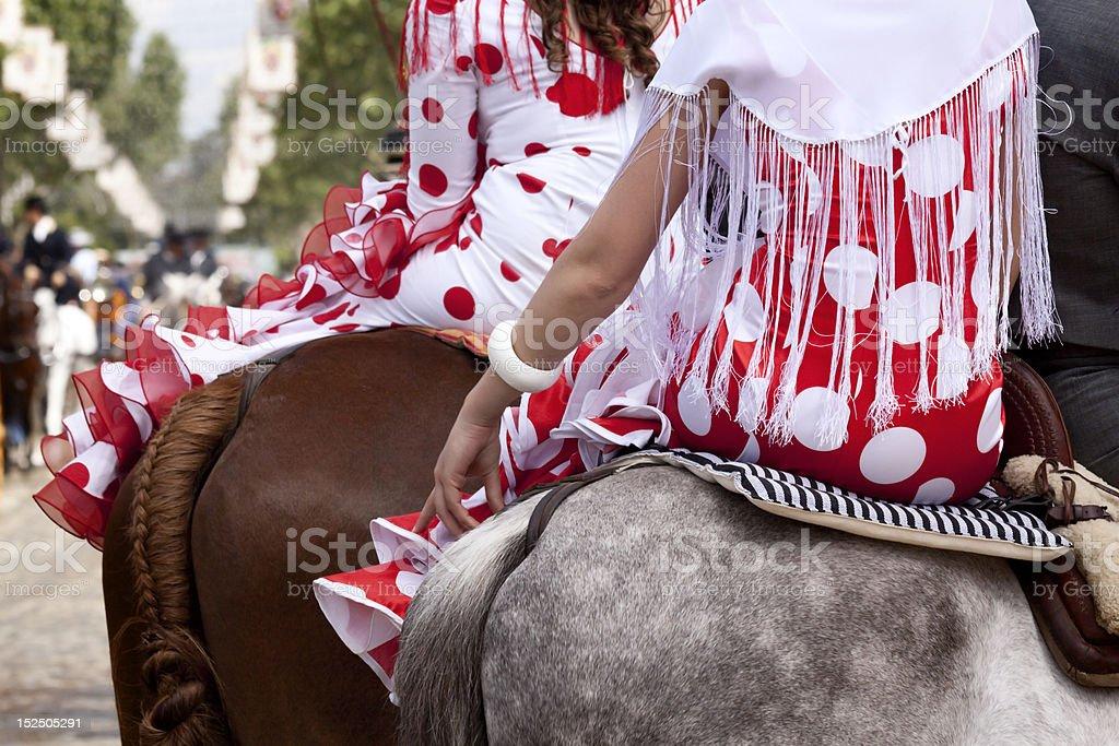 Flamenco Dresses on Horseback royalty-free stock photo