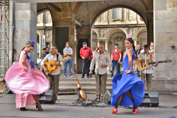 Flamenco female dancers show of the