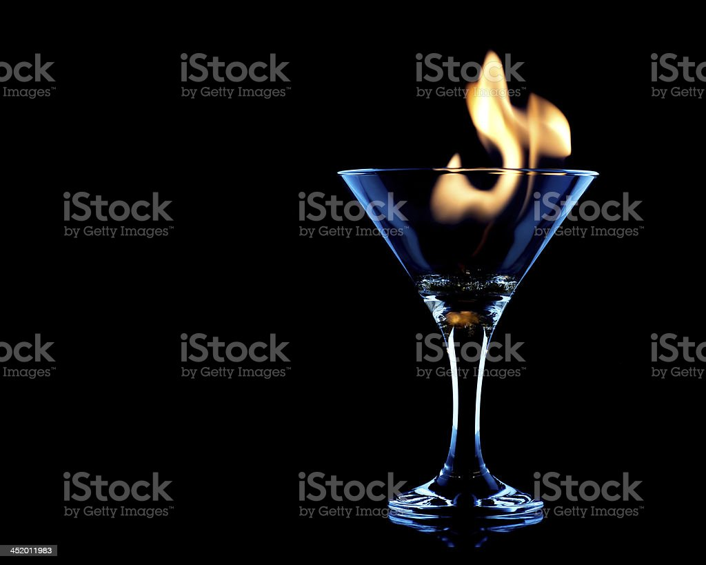 Flamer Cocktail over black on the glass stock photo