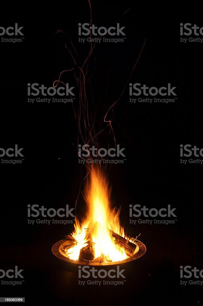 Flames at night stock photo